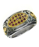 Gerochristo 2660 - Gold, Silver & Rubies Medieval-Byzantine Cross Ring ... - $755.00