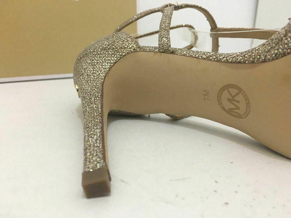 Michael Kors Simone Women's Evening High Heels Sandals Silver Sand Glitter 7 M image 11