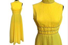 60s Miss ELLIETTE California Sunny Pineapple Yellow Swiss Dot High Mock ... - $85.00