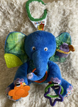 Eric Carle Blue Fleece Elephant Purple Mouse Crinkle Rings Mirror Teethe... - $12.13