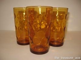 "~VTG~(3)~HAZEL ATLAS~Eldorado~Amber Gold Dots~5""~10oz~Flat Tumblers Glas... - $12.88"