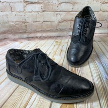 Toms Brogue Homme Taille 9 Noir Toile Cuir Bout Chaussures Richelieu Robe - $24.92