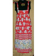 RED SUNDRESS WITH BLUE FLOWERS WITH SHOULDER TIES   - $9.99