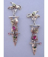 Jester Earrings Tourmaline Peridot Unique Handcrafted Post Pierced - $325.00