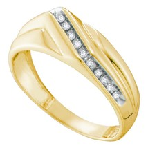 10k Yellow Gold Mens Round Diamond Diagonal Single Row Wedding Band Ring 1/8 - £246.43 GBP