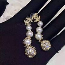 AUTHENTIC  CHANEL CC LOGO CRYSTAL LONG DANGLE PEARL EARRINGS GOLD RARE image 6