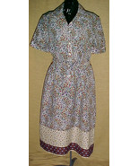 DRESS-FLOWERED WITH BEIGE AND MAROON BORDER, SIZE 16 - $9.99