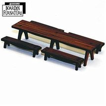 28mm Furniture: Long Trestle Table x1, Long Benches x4 (medium wood)