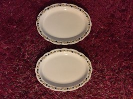 2 Buffalo China Restaurant Diner Platters Black Gold Flowers - $17.99