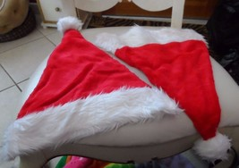 Lot of 2 Adult red Christmas Santa Hats with white faux fur trim - €6,08 EUR