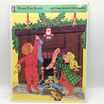 Vintage 1973 Rainbow Works Getting Ready For Santa Frame Tray Puzzle No ... - $14.55
