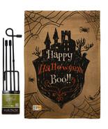 Happy Halloween Boo Burlap - Impressions Decorative Metal Garden Pole Flag Set G - $33.97