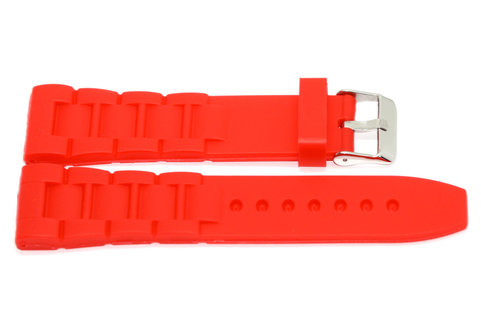 Primary image for 26MM RED SOFT RUBBER SILICONE COMPOSITE HIGH QUALITY SPORT LINK WATCH BAND STRAP