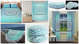 Ombre Mandala Curtain Set Floor Pillow Queen Tapestry Duvet Cover Beach ... - $483.50