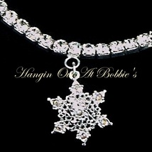 Snowflake Charm Anklet Clear Crystal Stretch 9 Inch Silver Tone Metal Style 641 - $21.99