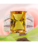 Engagement Ring Rectangular Shape Yellow Sapphire White Gold Plated 925 ... - $94.22