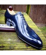 Men's Oxford Shiny Blue Plain Rounded Burnished Toe Real Leather Lace up Shoes - $129.90 - $199.99