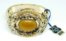 Pcraft Faux Tigers Eye Glass Cabochon Filigree Clasp Bangle Bracelet Gold Tone - $24.74