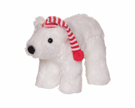 MANHATTAN TOY HOLIDAY WHITE POLAR BEAR RED STRIPE HAT CAP BEAN BAG 2016 ... - $27.71
