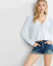 Express lace up pullover crop sweater sz M white - $31.67