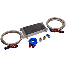 19 Row 10-AN10 Engine Transmission Oil Cooler w/ Fittings Kit Silver for... - $201.52