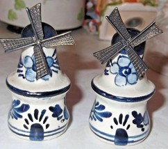 Vintage Delft Blue Windmill Salt & Pepper Shakers w/ movable Metal Blades - $18.69