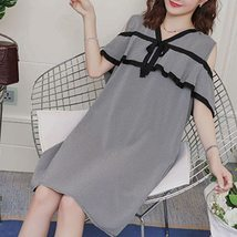 Maternity Dress Off The Shoulder Plaid Ruffles V-Neck Straight Dress image 4
