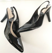 FRANCO SARTO Harla Black Patent Leather Slingback Pumps Heels SZ 8.5M - $34.64