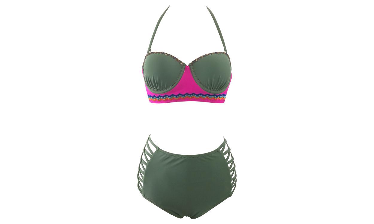 Women's Padded High Waist Strappy Two Pieces Bikini Set