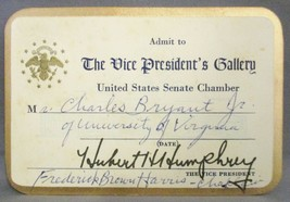 The Vice President's Gallery US Senate Chamber Invitation Signed Hubert ... - $49.50
