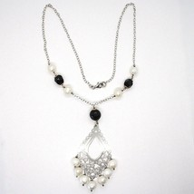 Necklace Silver 925, Onyx Black, White Pearls, Pendant Floral image 2