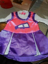 """DOLL SIZED CHEERLEADING OUTFIT/PINK & PURPLE COLORS/ 8 3/4"""" LONG X 5"""" WIDE - $6.79"""