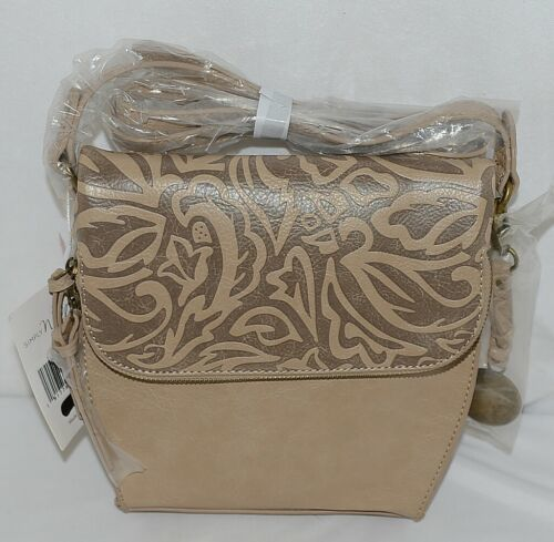 Simply Noelle Brand Tan Taupe Color Floral Leaf Pattern Womens Purse