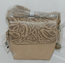 Simply Noelle Brand Tan Taupe Color Floral Leaf Pattern Womens Purse image 1