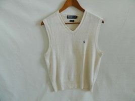 Polo by Ralph Lauren Mens Creme Linen Cotton Sweater Vest Size M - $29.99