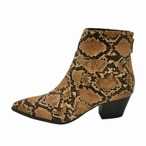 Qupid MYSTIQUE 01 Brown / Tan Snake Women's Pointy Toe Ankle Booties - $38.95
