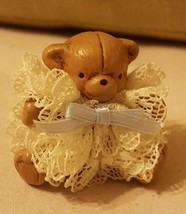 Tiny brown Bear MINIATURE Christmas Holiday Ornament Dollhouse Doll Decor - $13.06