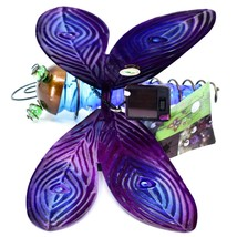 Painted Metal & Glass Solar Powered Light Garden Decoration Dragonfly Decor image 2