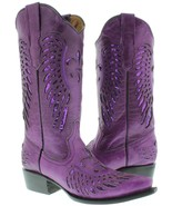 Womens Purple Flower Sequins Wings Leather Wear Cowgirl Boots Pointed Toe - €74,50 EUR