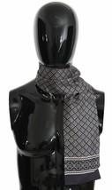 Dolce & Gabbana Mens Luxury Dark Blue Baroque Silk Wrap Scarf 15cm x 110cm - $116.82