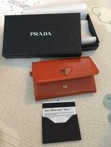 USED prada orange saffiano textured leather wristlet wallet bag 1m1438 h... - $118.80