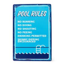 "Pool Rules Sign List Metal 14"" H  Swimming Backyard Friends Blue Vintage... - $29.69"
