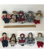 Lot of 5 Folk Art Dolls Small Mini Porcelain Head Weighted Bodies Boys G... - $18.69
