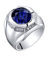 Men's Sterling Silver 6 Carat Created Sapphire Octagon Ring - $150.99