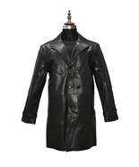Men Vintage Black Real Cowhide Leather Trench Coat - $179.99
