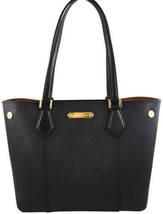 NWT Michael Kors Cori Snap Tote in Black Leather with Zip Pouch Gold - $115.14