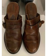 BORN Brown Leather Mules Clogs Sandals Womens Size 9 M Slip On Shoes - $21.77