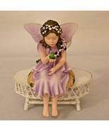 Enesco Lisa Jane Fairy Figurine Holding Frog Purple Dress Shelf Sitter 2000 - $22.99
