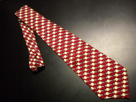 Nicole Miller Neck Tie Repeating Golf Tees Creams Grays Bright Red Background - $10.99