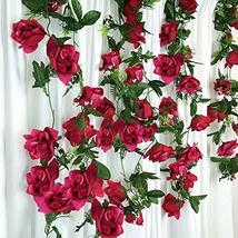 24 ft Large Artificial Rose Fuchsia Color Garlands for Party Events Wedd... - $47.52
